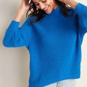 Textured Mock-Neck Blouson-Sleeve Sweater